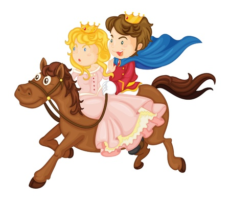 fairytale background: illustration of king and queen riding on a horse on a white Illustration