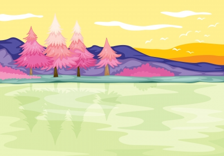 detailed illustration of beautiful landscape and bank Stock Vector - 15480602