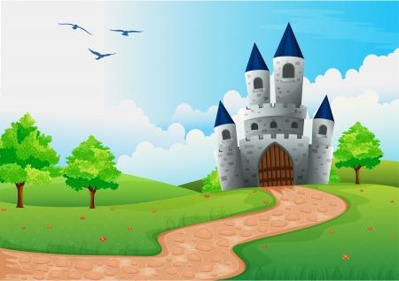 illustratie van een mooi huis in de natuur Vector Illustratie