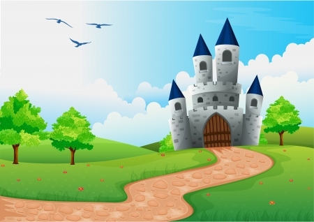 fairytale background: illustration of a beautiful house in nature