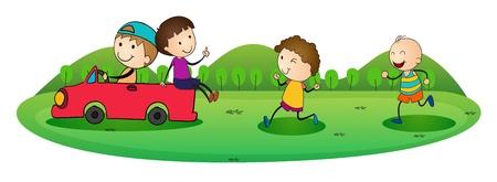tanzen cartoon: Darstellung von Jungen und Auto auf einem weißen Hintergrund