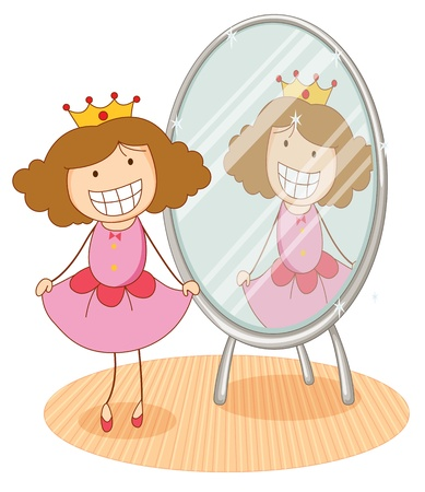 mirror image: illustration of girl in front of a mirror on a white background