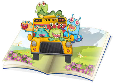 atrocious: illustration of monsters, school bus and book on a white background