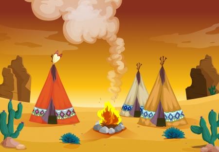 incendio casa: Ilustraci�n de una casa carpa y el fuego en un desierto