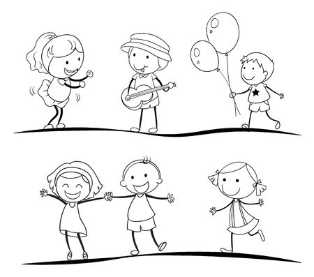women children: illustration of a sketches of kids on a white background