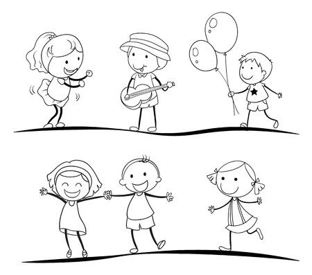 mujer hijos: Ilustraci�n de un croquis de los ni�os en un fondo blanco