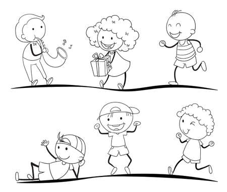 illustration of a sketches of kids on a white background Vector