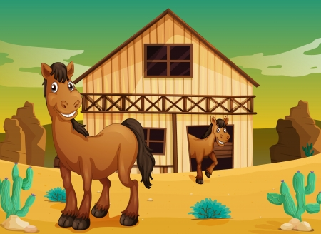 animal shelter: illustration of house and horses in a desert