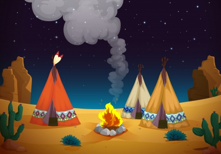 movable: illustration of a tent house and fire in night sky Illustration