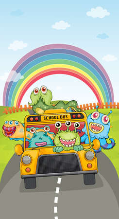 atrocious: illustration of monsters, school bus and rainbow on a white background Illustration