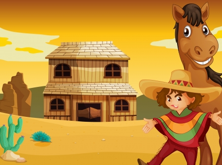 illustration of man, horse and house in a desert Stock Vector - 15480655