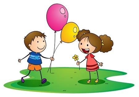 Illustration eines Kinder auf einem weißen Hintergrund
