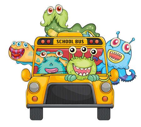 bus anglais: illustrations de monstres et de bus scolaire sur un fond blanc Illustration