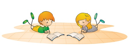 kids reading: illustration of a kids on a white background Illustration