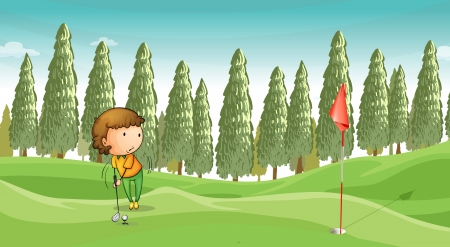 illustration of a boy playing golf in a beautiful nature Illustration