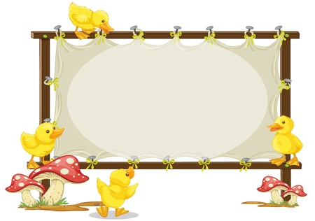 baby ducks: illustration of a board and duck on a white background