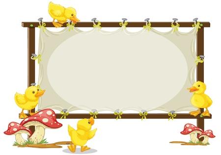 baby duck: illustrazione di una scheda e anatra su uno sfondo bianco Vettoriali