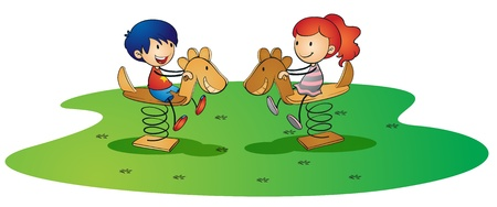 children playground: illustration of kids on a white background Illustration