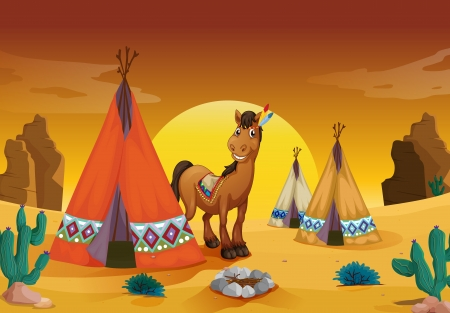 native american man: illustration of horse and tent house in a desert