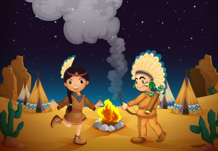 illustration of a dancing boy and girl in night sky Vector