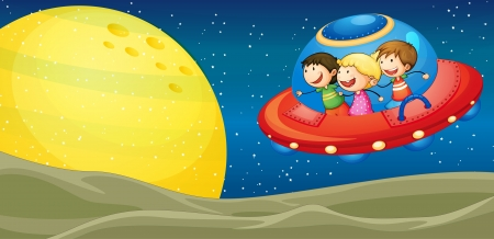 illustration of a kids and flying saucers in the univers Vector