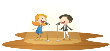 illustration of kids and mic on a white background Vector