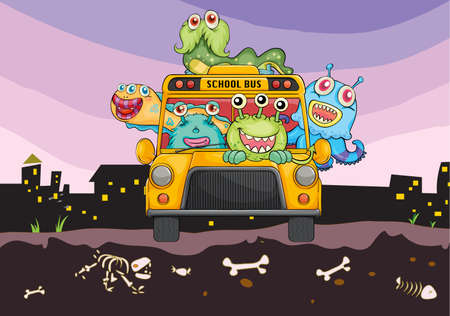horrific: illustration of monsters and school bus on a horror background Illustration