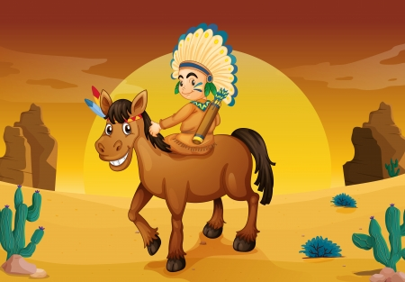 illustration of man and horse in a desert Vector