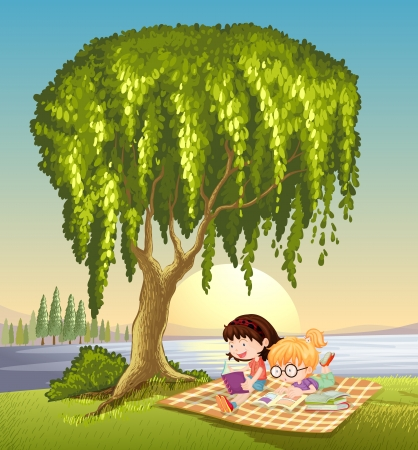 river bank: illustration of girls and tree in a beautiful nature