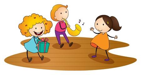 boite a musique: illustration de gosses sur un fond blanc