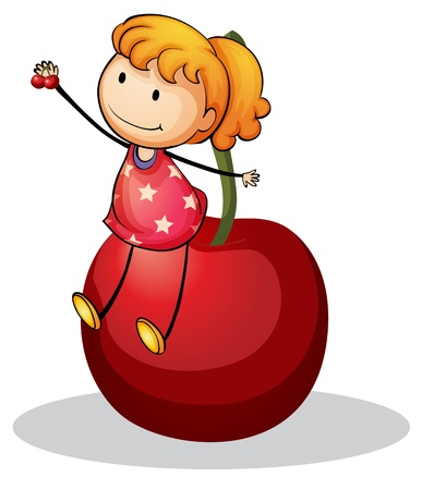 foodstuff: illustration of girl and cherry on a white background Illustration