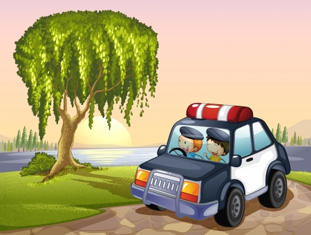 under water grass: illustration of car and kids around tree in a nature