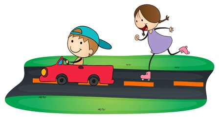 illustration of kids and car in a white background Vector