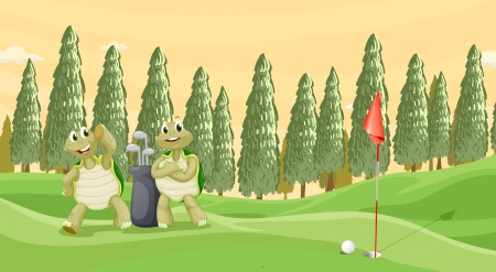 illustration of a tortoise playing golf in a beautiful nature Vector
