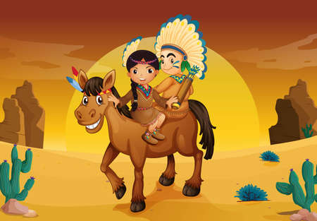 native american man: illustration of kids and horse in a desert