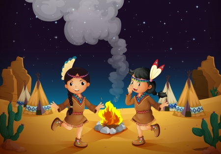 house fire: illustration of a dancing girls and stars in night sky