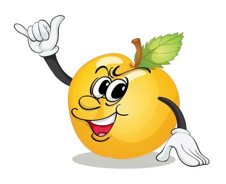 golden apple: illustration of golden apple on a white background Illustration