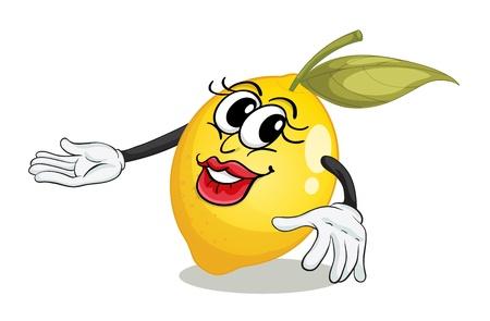 oeil dessin: illustration de citron sur un fond blanc Illustration