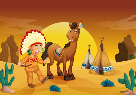 illustration of boy and horse in a desert Vector
