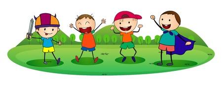 pals: illustration of boys on a white background Illustration