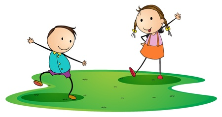 greet: illustration of kids on a white background Illustration