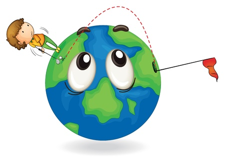 hole in one: illustration of a boy on earth planet on a white background