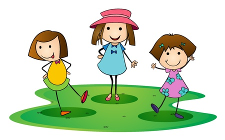 pals: illustration of girls on a white background Illustration