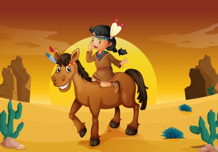 illustration of girl and horse in a desert Vector