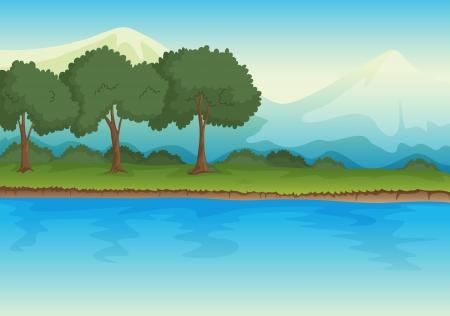 ilustración de un río en una hermosa naturaleza