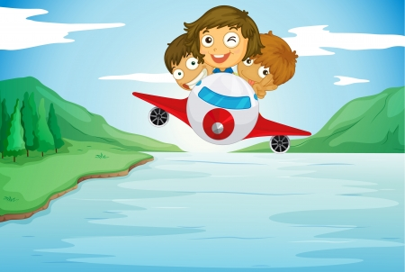 small plane: illustration of a kids and aeroplane in a beautiful nature