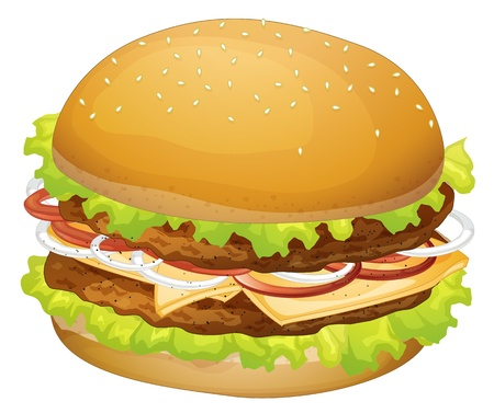 cheese bread: illustration of a burger on a white background