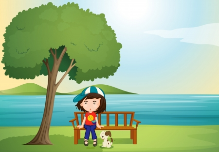 mountain stream: illustration of a girl and dog in a beautiful nature