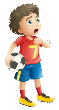 half ball: illustration of a boy on a white background