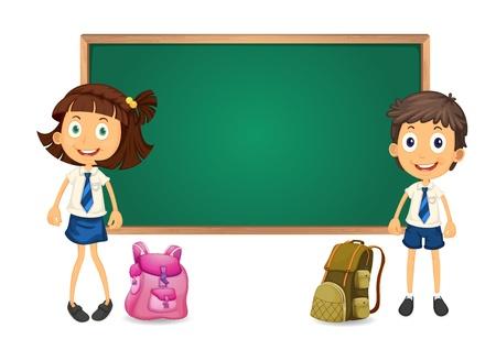 illustration d'un conseil d'administration enfants et vert sur fond blanc